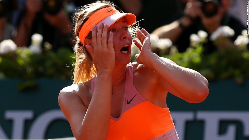 "Maria Sharapova -- who once described herself as a ""cow on ice"" on clay -- made it two French Open titles in three years by outlasting Romania's rising star Simona Halep, who was playing in her first grand slam final. It's the only major the 27-year-old Russian has won more than once."