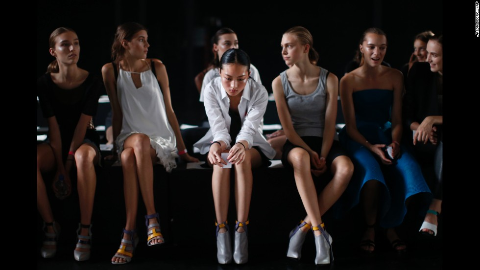 "Models wait to rehearse Saturday, September 6, before a Prabal Gurung show at New York Fashion Week. <a href=""http://www.cnn.com/2014/09/04/living/gallery/nyfw-runway-spring-2015/index.html"">See some of the collections on the runway</a>"