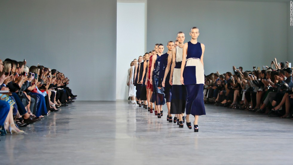 "<a href=""http://www.cnn.com/SPECIALS/living/nyfw/index.html"">CNN Living</a> was on the scene as designers showcased their spring 2015 collections at New York Fashion Week from September 4 to 11. Calvin Klein showed a collection of long, lean silhouettes on the last day of Fashion Week."