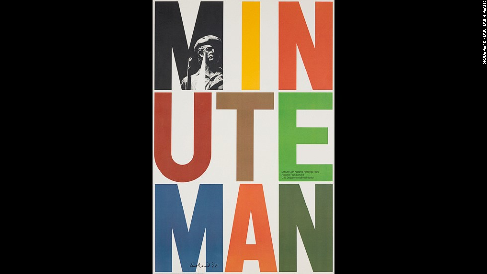 Brooklyn-born Paul Rand, the only non-European being celebrated, was a commercial artist, first and foremost. His bright colors and creative use of type stand out immediately. This poster was created for the Minute Man National Historical in Massachusetts in 1975.