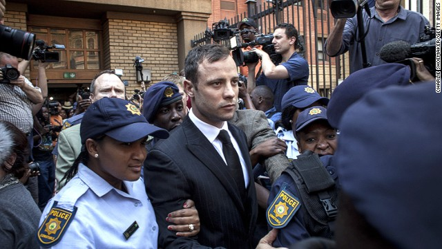 Oscar Pistorius leaves on bail from the North Gauteng High Court on September 12 in Pretoria, South Africa.