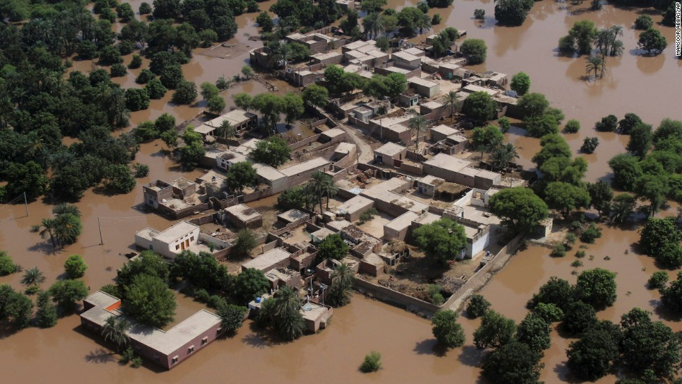 Houses are surrounded by floodwaters in Multan on September 14.