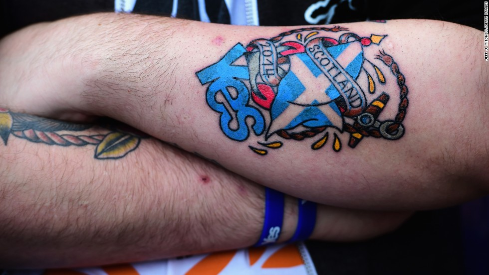An independence supporter takes part in a march to the BBC Scotland offices in Glasgow on September 14.