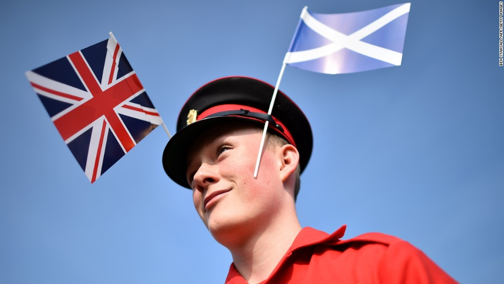 A member of the Grand Orange Lodge of Scotland prepares for a march in Edinburgh on September 13. The Orange Order is a conservative British unionist organization.