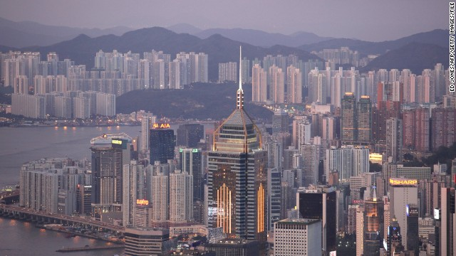The Central Plaza highrise office building (C) is seen against the Hong Kong skyline on July 22, 2009. It was reported on July 22 that many Asian property markets, including Hong Kong, have recovered from lows seen earlier this year, with demand fuelled by increased bank lending and low mortgage rates. AFP PHOTO / ED JONES (Photo credit should read Ed Jones/AFP/Getty Images)