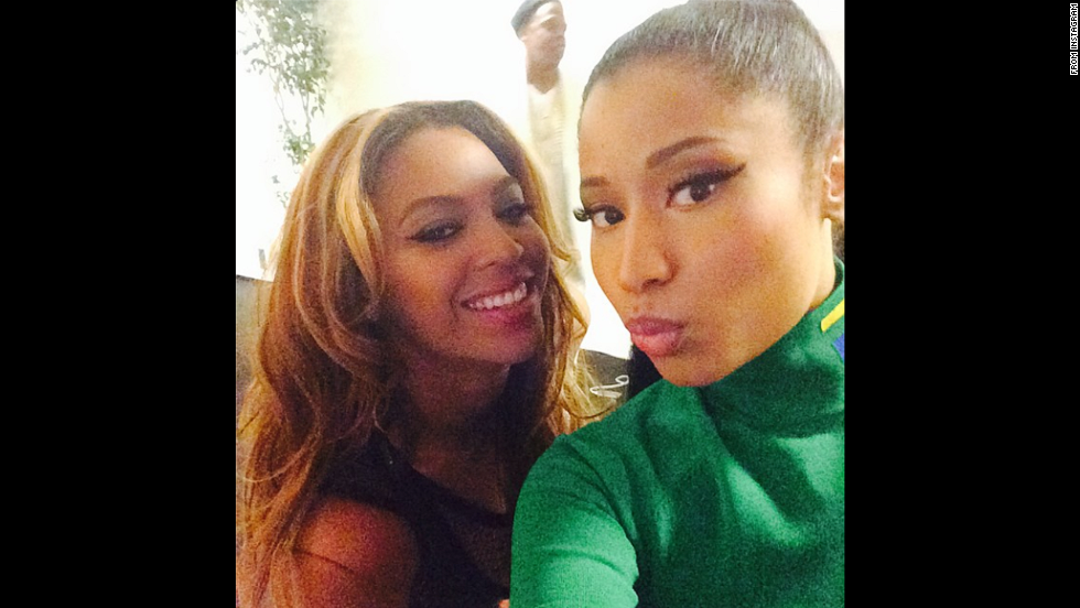 "Rapper Nicki Minaj, right, snaps a selfie with singer Beyonce on Friday, September 12. The two performed together during a Beyonce concert in Paris. ""The QUEEN, could never thank you enough,"" Minaj <a href=""http://instagram.com/p/s3HhZML8fd/"" target=""_blank"">said on Instagram.</a>"
