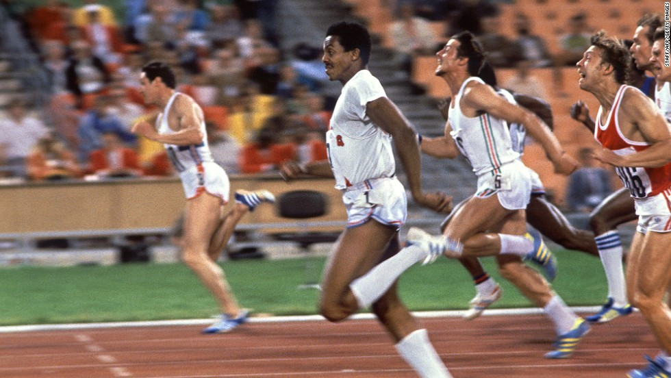 Despite finishing with the same time as Cuba's silver medalist Silvio Leonard (10.25 seconds), Scotland's Allan Wells won the men's 100 meters final at the 1980 Olympics in Moscow. Sixty-five countries boycotted the Games in protest against Russia's invasion of Afghanistan but, shortly after, Wells took on and beat sprinters from the United States -- then considered his greatest rivals. He is the last white man to have won the title.