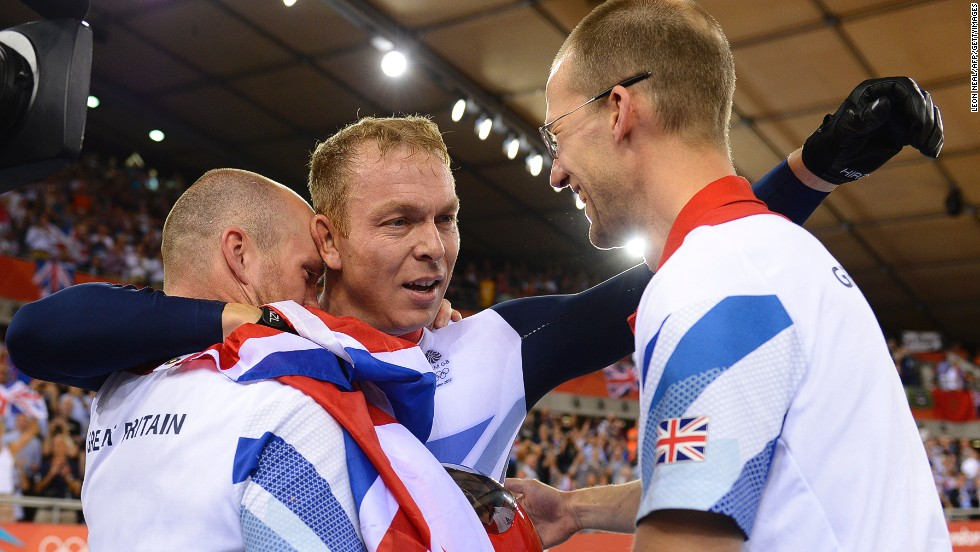 No British Olympian has won more gold medals than the six earned by Scottish cyclist Chris Hoy, pictured here just moments after winning his last Olympic final at the London 2012 Games. English rower Steve Redgrave held the previous record with five golds and was on hand to congratulate Hoy after he made British Olympic history.