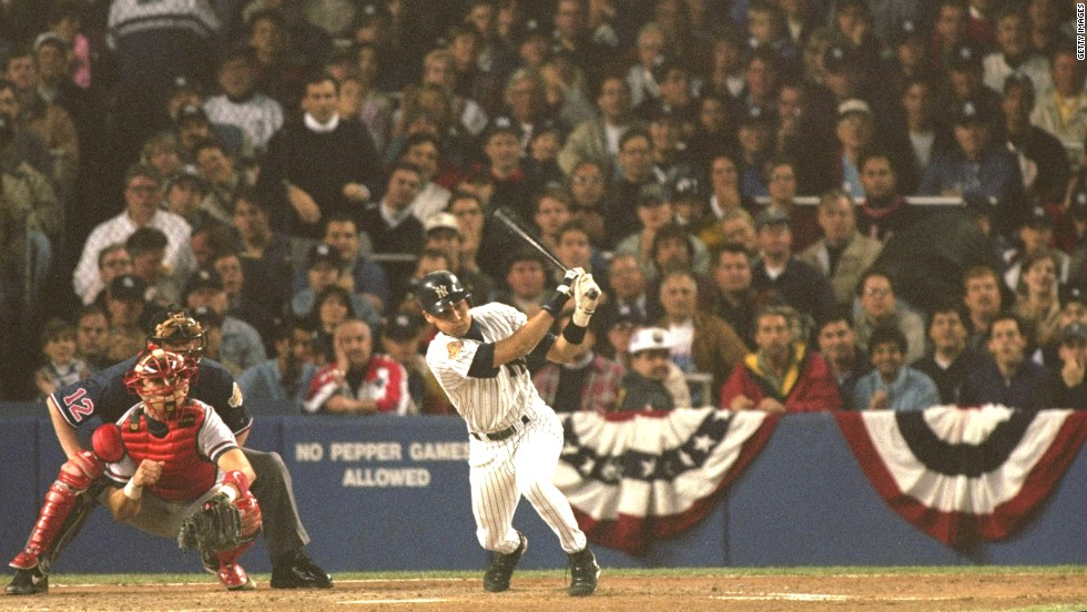 Jeter hits a ball during Game 6 of the World Series in October 1996. The Yankees defeated the Atlanta Braves in Jeter's first full season.