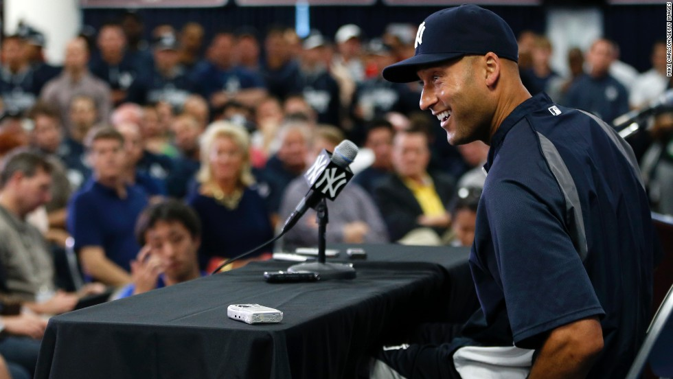 Jeter announces his retirement in February 2014, saying the upcoming season would be his last.
