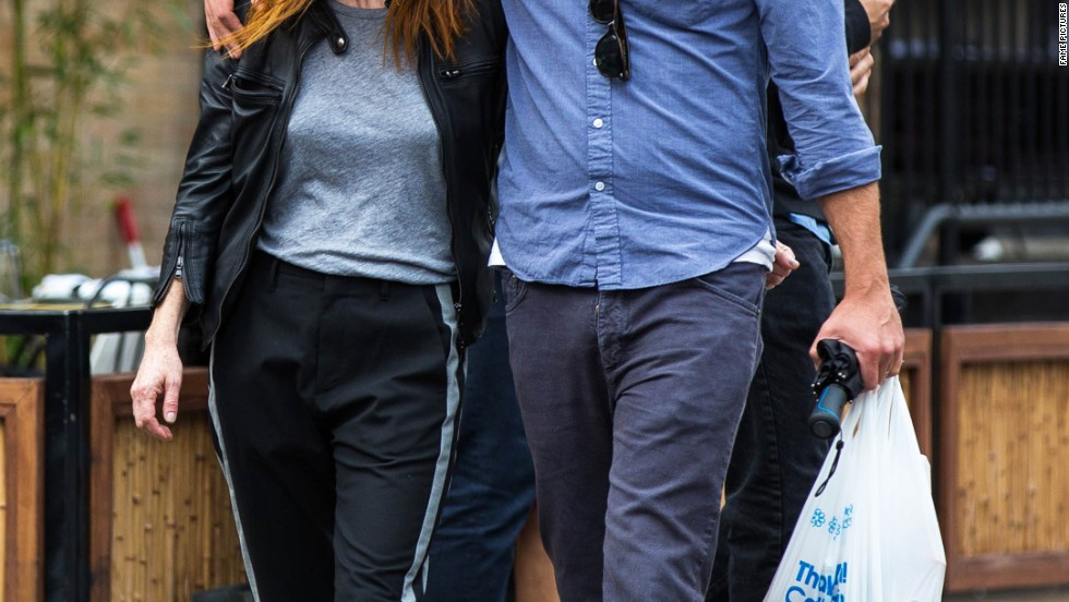 Julianne Moore and Bart Freundlich step out in NYC with smiles on September 16.