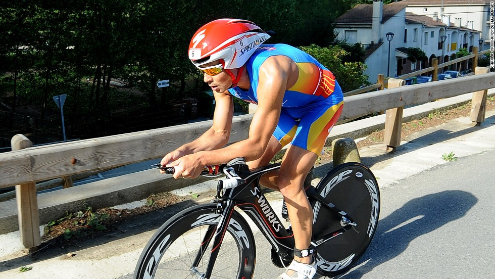 "Reigning world triathlon champion Javier Gomez is pictured on his way to winning the Challenge Barcelona race in 2013. '""An amazing athlete,"" said Crowhurst."
