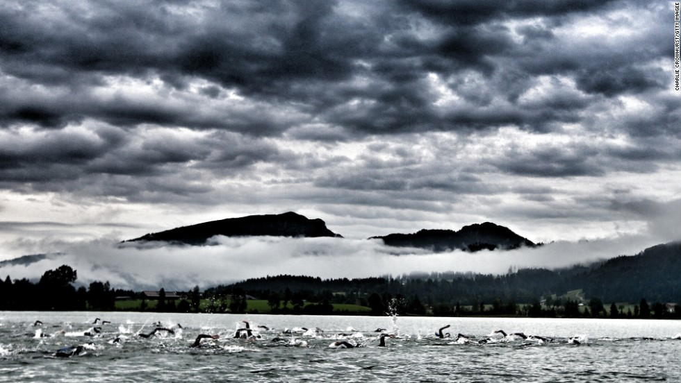 """I don't have a favorite picture. You always enjoy the work you have just done,"" said Crowhurst, who captured thick cloud lingering over the start line of the Challenge Austria event in Walchsee."