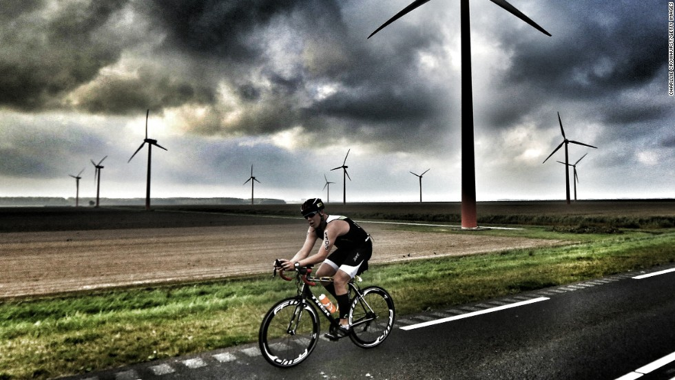 "Triathlons can become a battle between man and nature. ""The winds hitting the competitors on the bike leg of the Challenge Almere event this year were particularly strong,"" said Crowhurst."