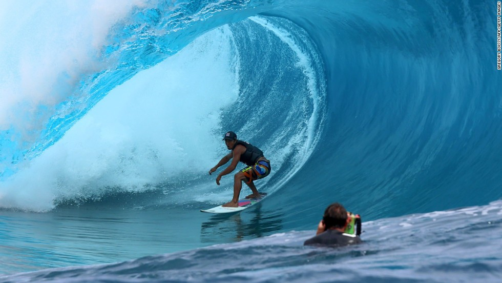 Heiarii Williams is a leading contender on the ASP World Surfing Tour but deploying his skills here during the filming in Teahupoo.