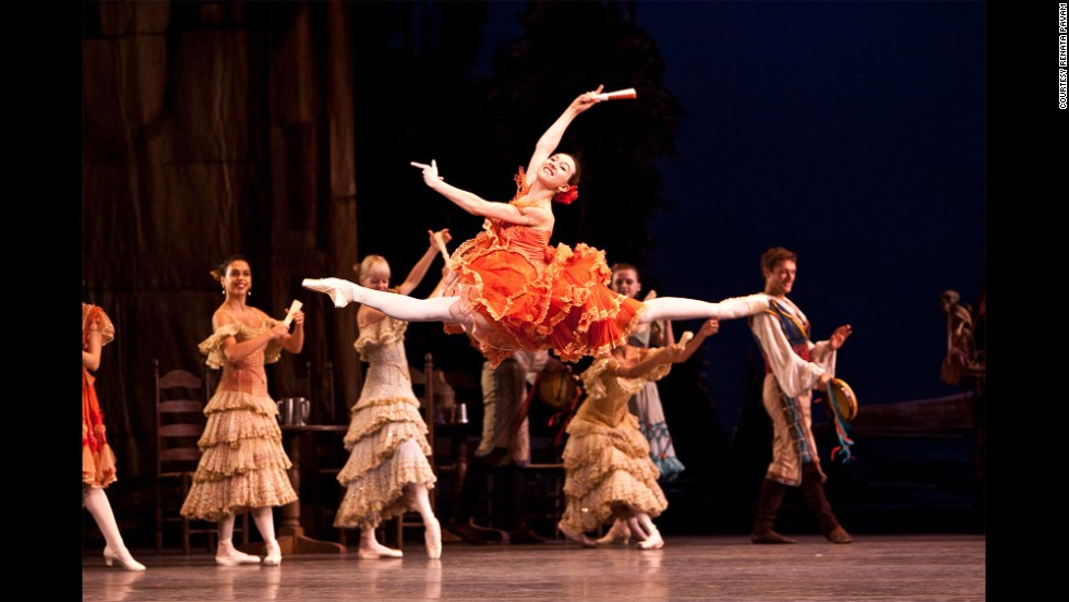 "Leaping into the air in ""Don Quixote"" in Barcelona"