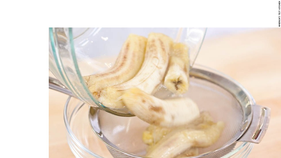5. Transfer bananas to fine-mesh strainer set over bowl and let drain, stirring occasionally for 15 minutes (you should have 1/2 to 3/4 cup liquid).