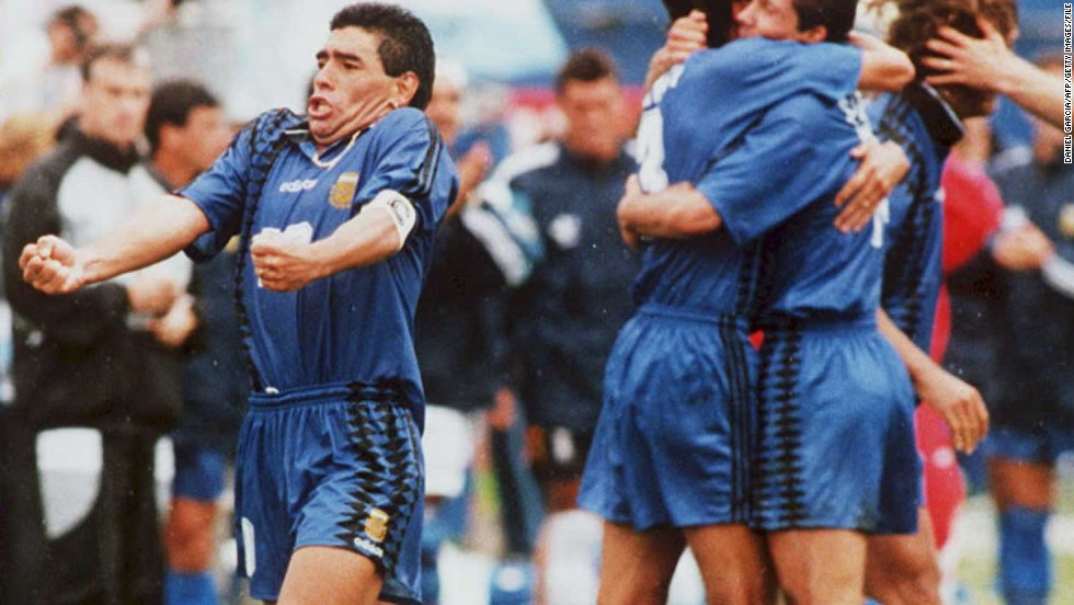 A pumped-up Maradona during the 1994 World Cup hosted by the U.S. He was later thrown out of the tournament after testing postive for the banned stimulant ephedrine, signaling the end of his international career.
