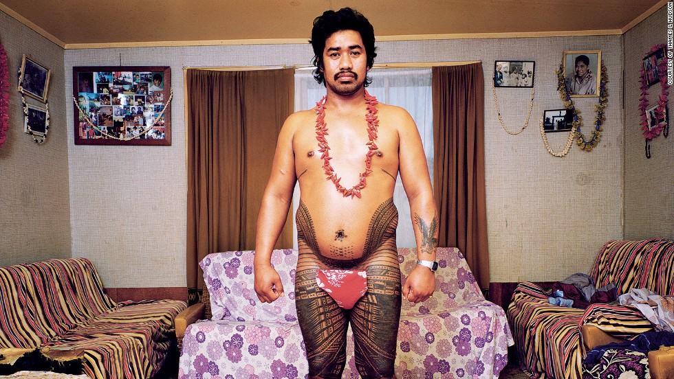 A Samoan man shows off his traditional pe'a, or ritual tattoos that are a marker of manhood.