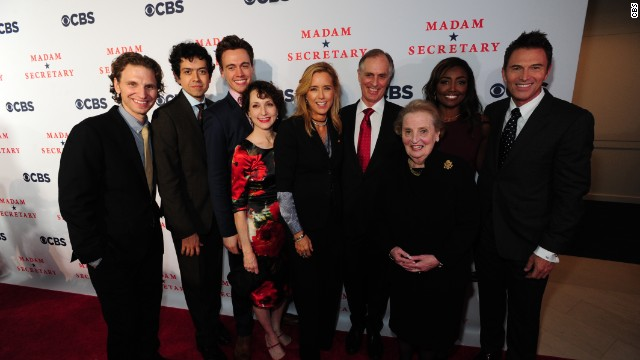 "The cast of CBS' ""Madam Secretary"" stands with former Secretary of State  Madeleine Albright."