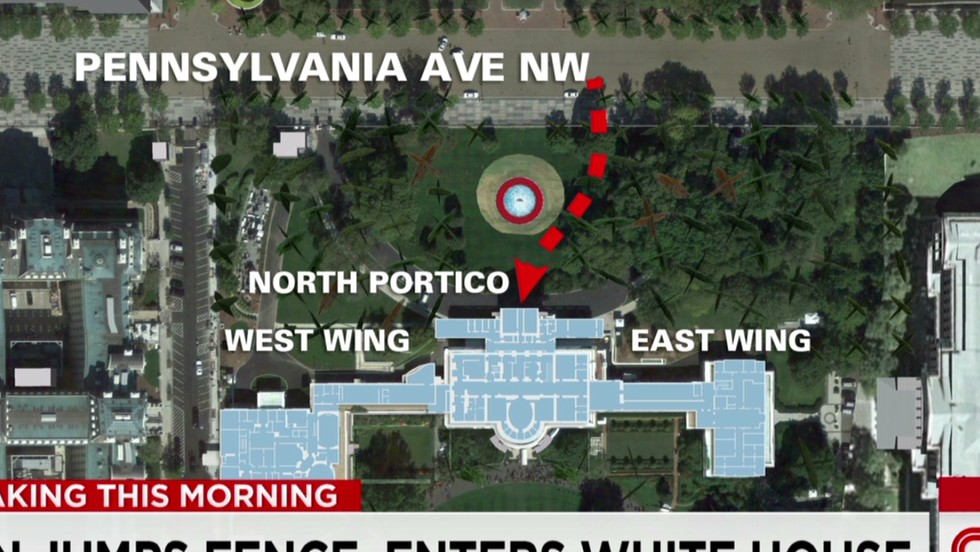 Man barges into White House after jumping lawn fence