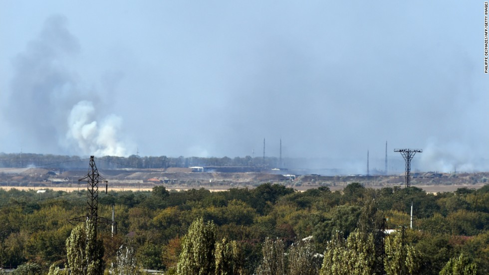 Smoke rises after an explosion at a weapons factory controlled by pro-Russian rebels near Donetsk on September 20. The cause of the explosion was not immediately known.