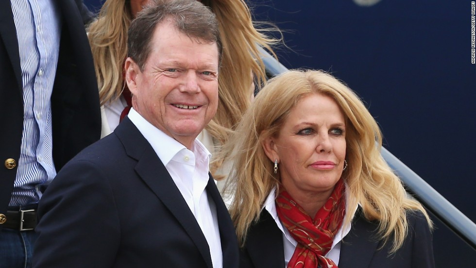 The U.S. team will be accompanied by their wives throughout the week. Here, American captain Tom Watson is pictured with his wife Hilary.