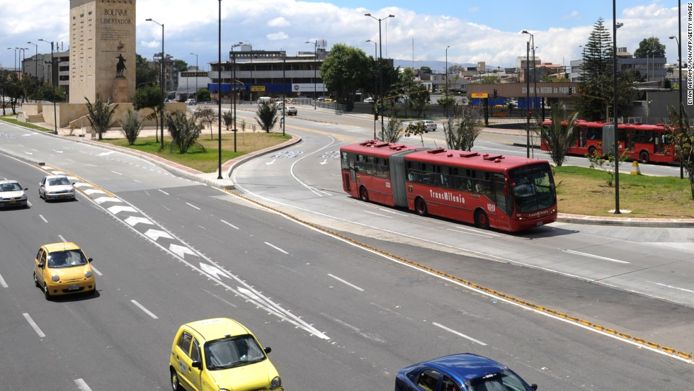 TransMilenio is a rapid transit bus system that serves the Colombian capital. Routes are separated from cars and other vehicles.
