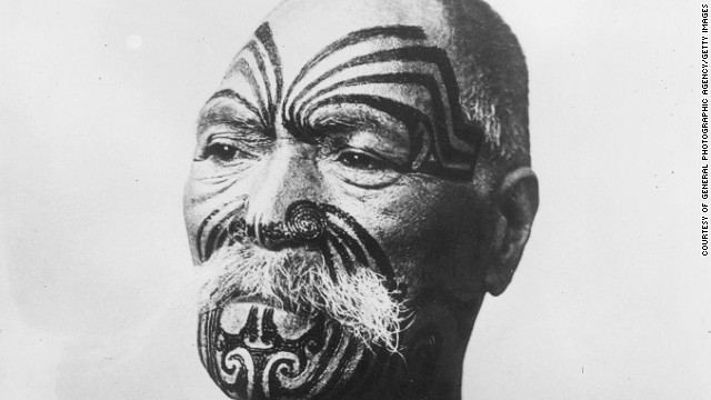 This is shows a Maori face tattoo.