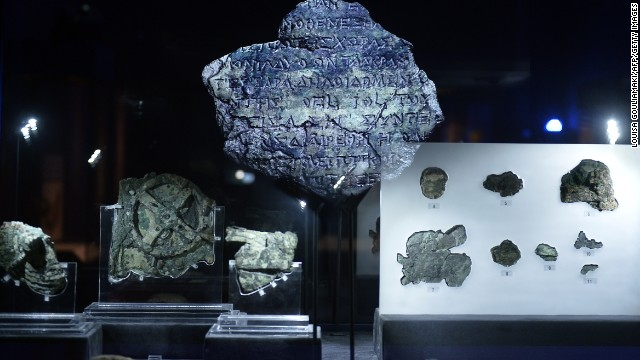 A picture taken at the Archaeological Museum in Athens on September 14, 2014 shows pieces of the so-called Antikythera Mechanism, a 2nd-century BC device known as the world's oldest computer, which was discovered by sponge divers in 1900 off a remote Greek island in the Aegean,. The mechanism is a complex mechanical computer which tracked astronomical phenomena and the cycles of the Solar System . AFP PHOTO / LOUISA GOULIAMAKI (Photo credit should read LOUISA GOULIAMAKI/AFP/Getty Images)