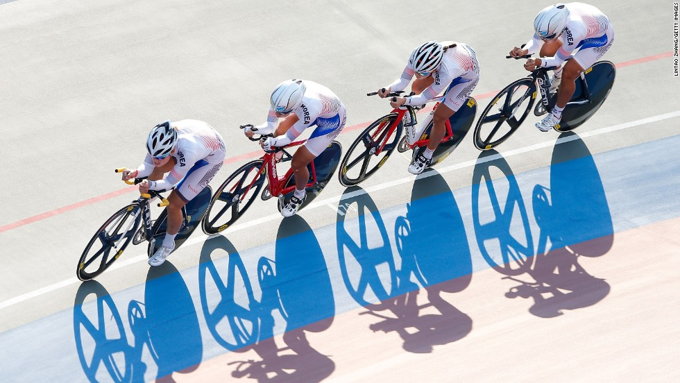 South Korean cyclists compete in team pursuit qualifying Saturday, September 20, at the Asian Games in Incheon, South Korea.