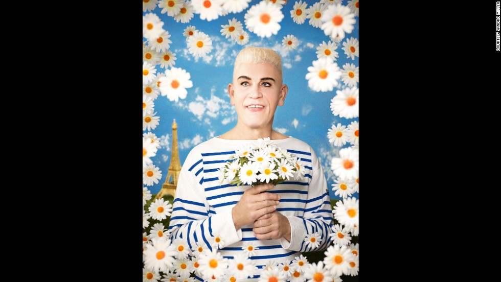 Malkovich is dressed as designer Jean Paul Gaultier in this re-creation of Pierre et Gilles' work in 1990.