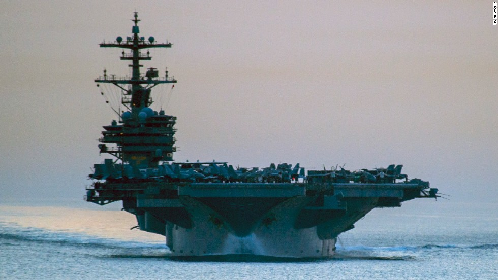 F/A-18 jets and other aircraft used in strikes against ISIS have been launched from Navy carriers, including the the USS George H.W. Bush, a 103,600-ton aircraft carrier seen here in April as it transits the Strait of Hormuz.