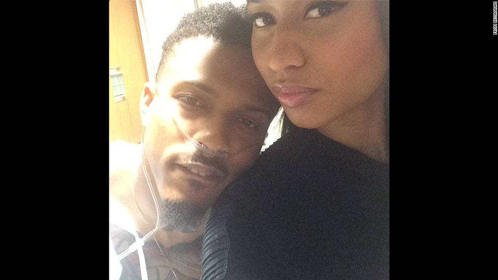 "Rapper Nicki Minaj, right, <a href=""http://instagram.com/p/tRJrfVr8fy/"" target=""_blank"">posted a selfie</a> of her and singer August Alsina on Monday, September 22. Alsina recently collapsed on stage during a performance in New York. ""Still praying for my lil bro,"" Minaj said on Instagram. ""He's doing better."""
