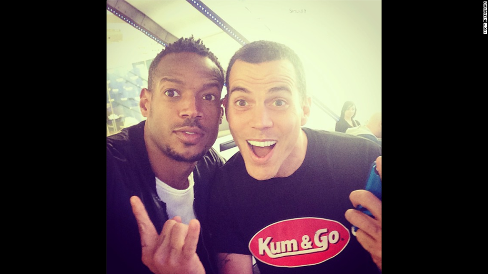 "Actor Marlon Wayans, left, <a href=""http://instagram.com/p/tIlUNWOjQ4/"" target=""_blank"">snaps a selfie</a> with another famous funnyman, stunt performer Steve-O, on Friday, September 19."