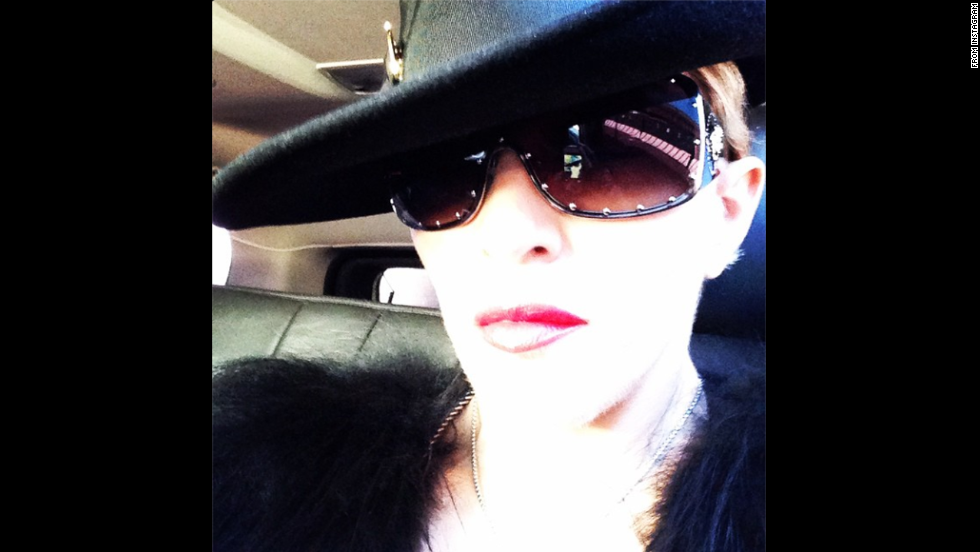 "Music icon Madonna wrote ""Goin to werk #bitchimmadonna"" with this selfie <a href=""http://instagram.com/p/tQ_Mo2GEUk/"" target=""_blank"">sent to her Instagram account</a> on Monday, September 22."