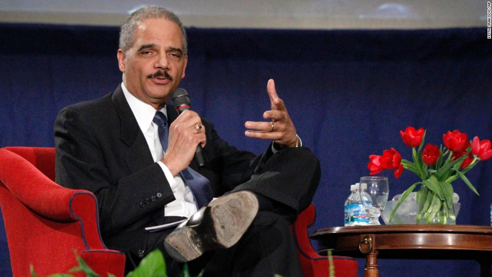 Holder answers a student's question after a speech commemorating the 100th anniversary of the Duquesne University School of Law in February 2011.