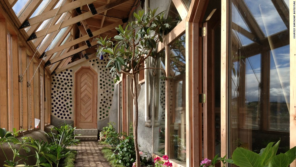 Earthships are built south-facing for maximum sunlight.