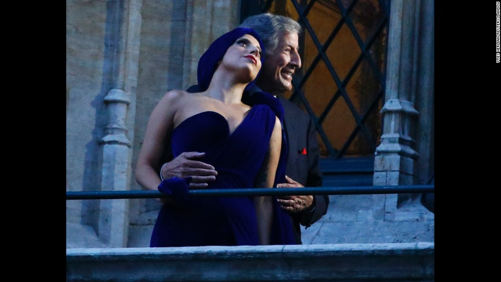 "Singers Tony Bennett and Lady Gaga pose on a balcony in Brussels, Belgium, before performing at a concert together on Monday, September 22. The two recently collaborated on an album called ""Cheek to Cheek."""