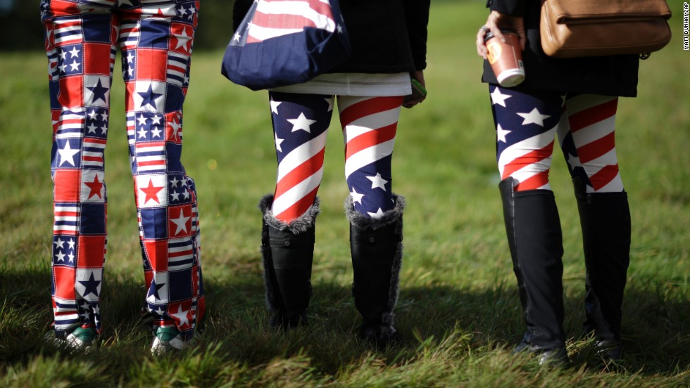 U.S. fans watch golfers during a practice round Wednesday, September 24, at the Ryder Cup tournament in Gleneagles, Scotland.