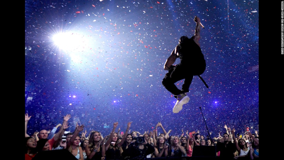 R&B artist Usher performs on stage Friday, September 19, at the iHeartRadio Music Festival in Las Vegas.