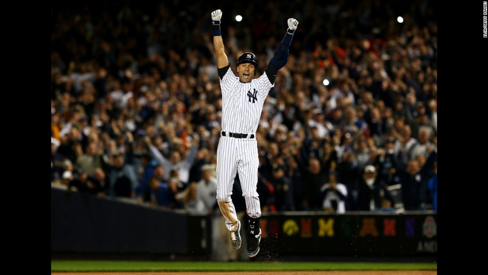 "Jeter celebrates after hitting the game-winning RBI in his last game at Yankee Stadium. ""I don't think there's a more fitting way for it to end,"" Yankees manager Joe Girardi said."