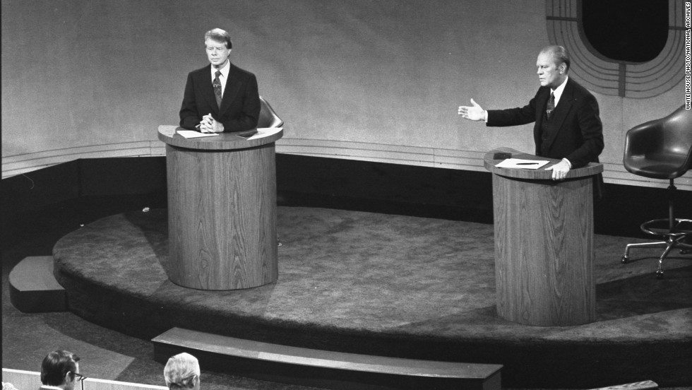 Carter and US President Gerald Ford debate domestic policy at the Walnut Street Theater in Philadelphia in September 1976. It was the first of three Ford-Carter presidential debates.