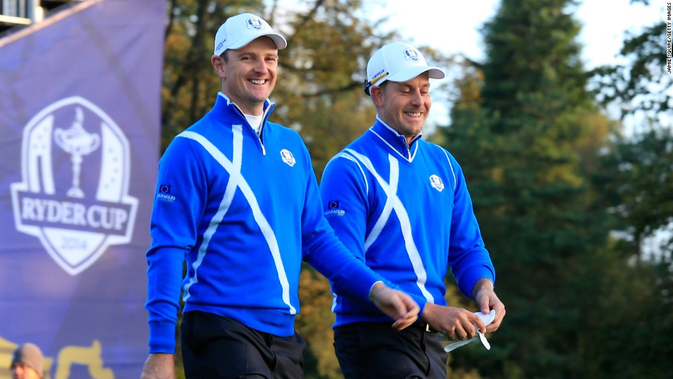 Watson and Simpson were no match for European pairing of England's Justin Rose (left) and Swede Henrik Stenson. The experienced duo won the match comfortably 5&4 to give Europe the first point of the match. The pair ended up taking maximum points on Friday with a 2&1 win over Hunter Mahan and Zach Johnson in the afternoon foursomes.
