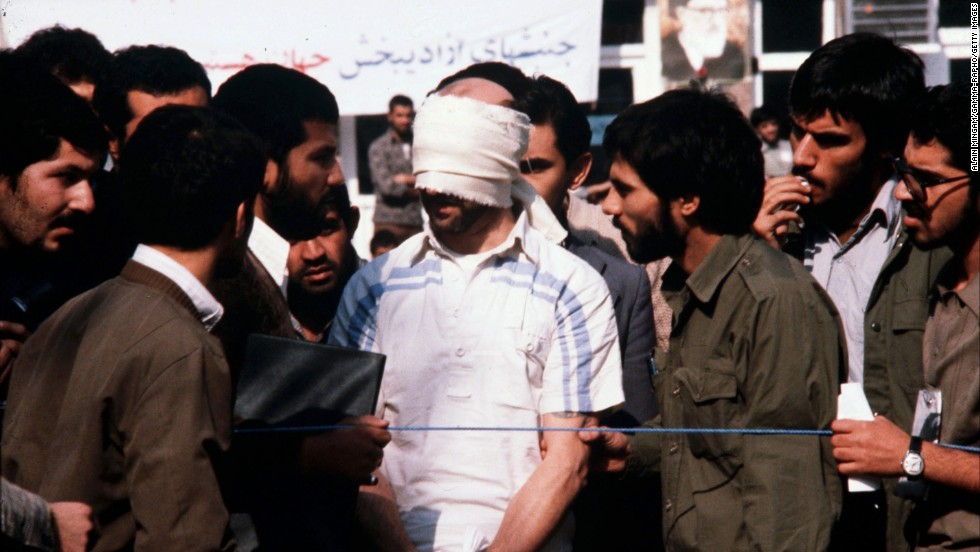 A blindfolded American hostage is paraded by his captors at the US Embassy in Tehran, Iran, in November 1979. Carter's inability to successfully negotiate the release of the hostages became a major political liability. The hostages were freed on January 20, 1981, the day of Ronald Reagan's inauguration.