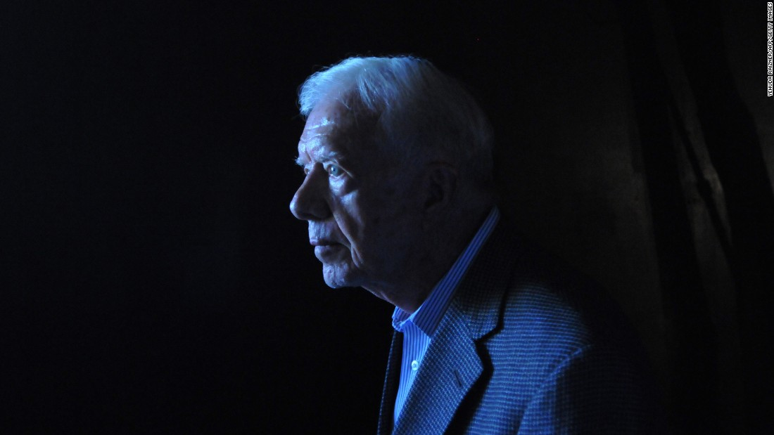 Carter walks out of the Hall of Remembrance at the Yad Vashem Holocaust memorial in Jerusalem in August 2009. The Elders, an independent council of retired world figures, kicked off a visit to Israel and the Palestinian territories in a bid to encourage Middle East peace efforts.
