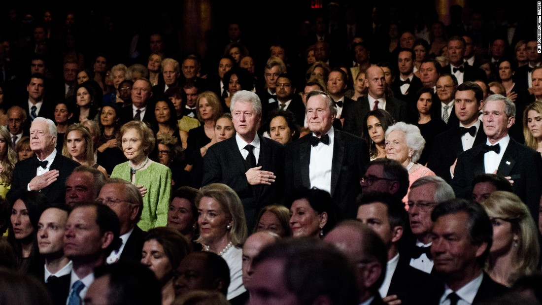 Carter and other former Presidents, including Clinton and both George Bushes, attend the Points of Light Institute Tribute to Former President George H.W. Bush in March 2011.