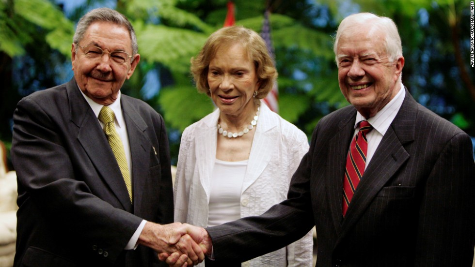 Cuban President Raul Castro greets Carter and his wife at the Revolution Palace in Havana on March 30, 2011. Carter was the first former US President to visit Cuba since the 1959 revolution.