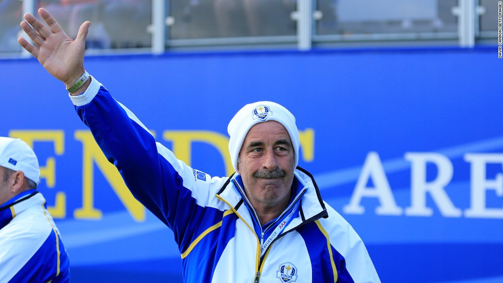 Former player, captain and this year vice-captain Sam Torrance acknowledges the crowd. The proud Scot, who holed the winning putt for Europe at The Belfry in 1985, is a massive favorite with the home supporters.