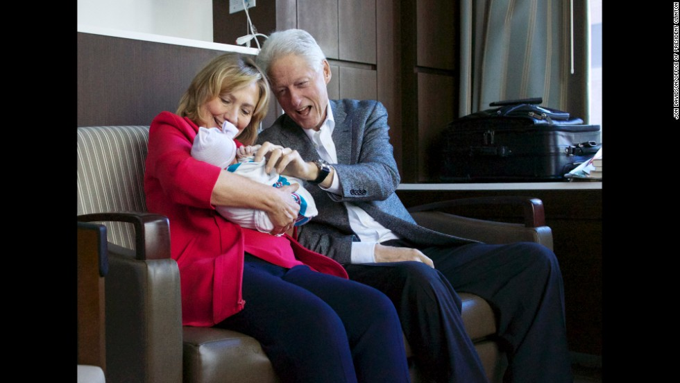 "Former President Bill Clinton tweeted ""Charlotte, your grandmother @HillaryClinton and I couldn't be happier!"""